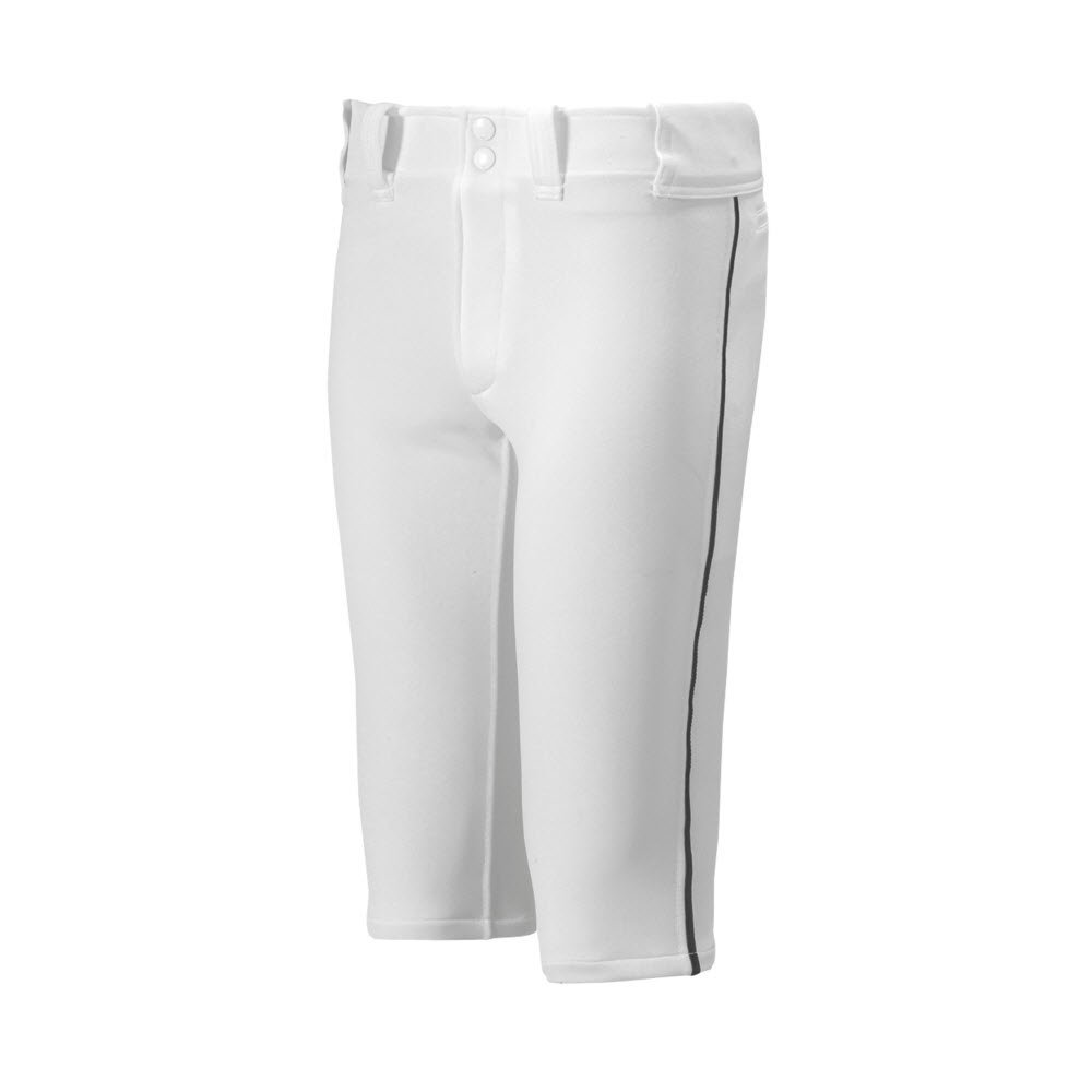 Mizuno Youth Premier Piped Short Baseball Pant, White-Black, Youth XXX-Large by Mizuno