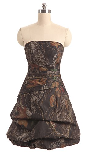 Sexy Camo Dress With Star Appliques (Snowskite Womens Strapless Short Pick-up Camo Cocktail Party Prom Dress 26)