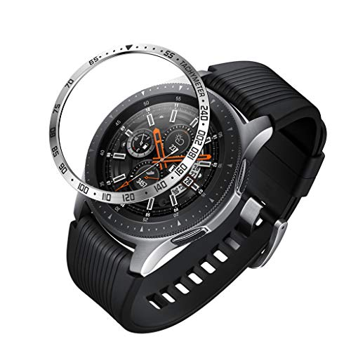 (Bezel Styling for Galaxy Watch 46mm / Galaxy Gear S3 Frontier & Classic Bezel Ring Adhesive Cover Anti Scratch Stainless Steel Protection, Black Silver Watch Screen Protector (Silver))
