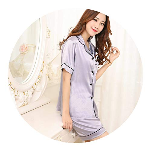 Plus Size M-5XL Women Silk Satin Pajamas Pyjamas Set Sleepwear Long Sleeve,B Gray,M