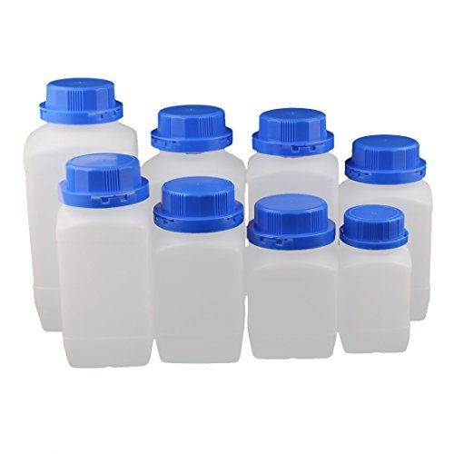 DealMux Set 250-1500ml Plastic Square Wide Mouth Chemical Sample Reagent Bottle Thickening DLM-B01N3Z10AL