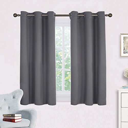 NICETOWN Grey Blackout Curtain Panels for Bedroom, Thermal Insulated Grommet Top Blackout Draperies and Drapes (2 Panels,W42 x L45 -Inch,Grey)