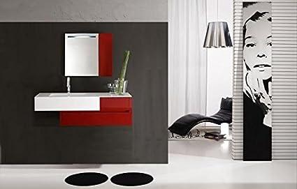 Mobile bagno rosso completo di lavabo specchio mensole l