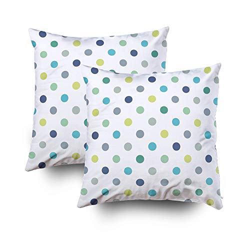Sofa Pillows Covers,Seamless vector pattern texture or background with cool mint blue and yellow green polka dots on white background for web design desktop wallpaper winter blog website or invitation ()