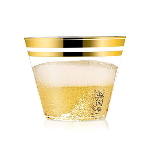 50 Premium Party Plastic Cups With Gold Rim, Elegant & Sturdy 9 oz Wedding and Party Tumblers]()
