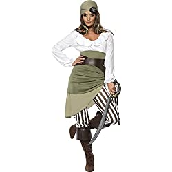 Smiffys Women's Shipmate Sweetie Costume, Top, Skirt, Leggings, Bandana, Belt and Boot cuffs, Pirate, Serious Fun, Size 14-16, 33353