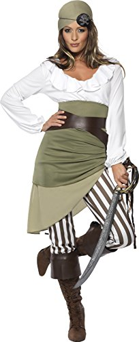 [Smiffy's Women's Shipmate Sweetie Costume, Top, Skirt, Leggings, Bandana, Belt and Boot cuffs, Pirate, Serious Fun, Size 14-16,] (Ladies Pirates Costumes)