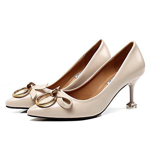 La Mujer Para De Alto Mujer De Alto A La La Zapatos Punta Metálico Luz Zapatos Luz El De Talón Redonda Singles Femeninos Tacón Zapatos GAOLIM Con Beige Bajos Finos Zapatos Tacones De Tacón De Los Zapatos A XxYqpCww5