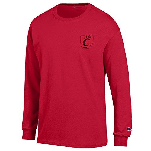 Reds Classic Shirt Cincinnati (Champion NCAA Cincinnati Bearcats Men's Men's Homecoming Long Sleeve T-Shirt, Small, Scarlet)
