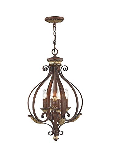Livex Lighting 8556-63 Villa Verona 4 Light Verona Bronze Finish Foyer Chandelier with Aged Gold Leaf Accents and Rustic Art Glass ()