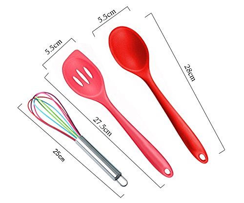 10 Piece in Hygienic Solid Coating Toyofmine Premium Silicone Kitchen Cooking Utensils Set Multicolor Heat Resistant Baking Tools