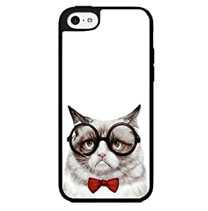 Nerdy Grumpy Cat with Red Bow Tie and Glasses Hard Snap on Phone Case (iPhone 5c)
