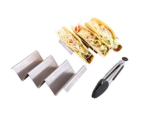 Taco Holder Stand Stainless Steel - 2 Pack Taco Shell Holder w/BBQ Tong - Oven Grill Dishwasher Safe Packed In Stylish Matt Box
