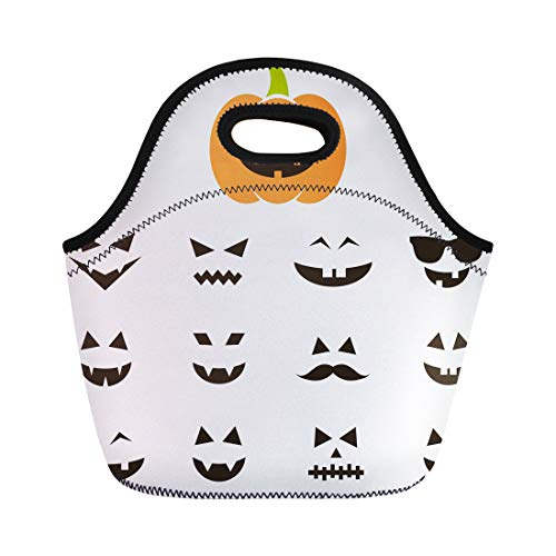 Semtomn Lunch Bags Monster Graphic of Faces for Halloween Pumpkin Anger Autumn Neoprene Lunch Bag Lunchbox Tote Bag Portable Picnic Bag Cooler Bag -