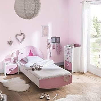 Amazon.de: Kinderzimmer Lotte 3-TLG weiß/rosa Bett Kommode ...