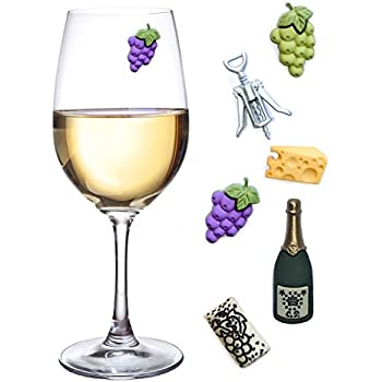 simply charmed wine glass charms set of 6 fun magnetic wine theme drink markers and