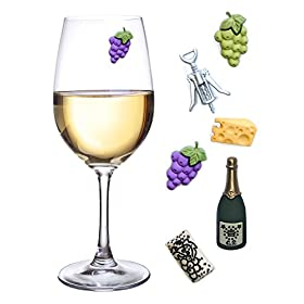 Simply Charmed Wine Glass Charms, Set of 6 Fun Magnetic Wine Theme Drink Markers and Tags