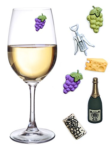 Simply Charmed Wine Glass Charms, Set of 6 Fun Magnetic Wine Theme Drink Markers and Tags -