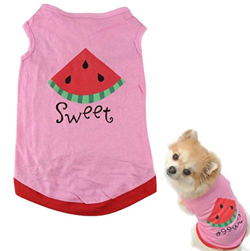 Puppy Shirt, OOEOO Hot Summer Cute Pet Dog Cat Clothes Watermelon Printed Costume Vest (Pink, M) by OOEOO Pet Clothes (Image #1)