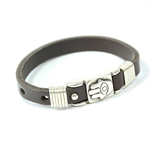 - MIZZE Made for Luck Men's Adjustable Evil Eye Protection Brown Leather Bracelet with Hamsa Hand Charm