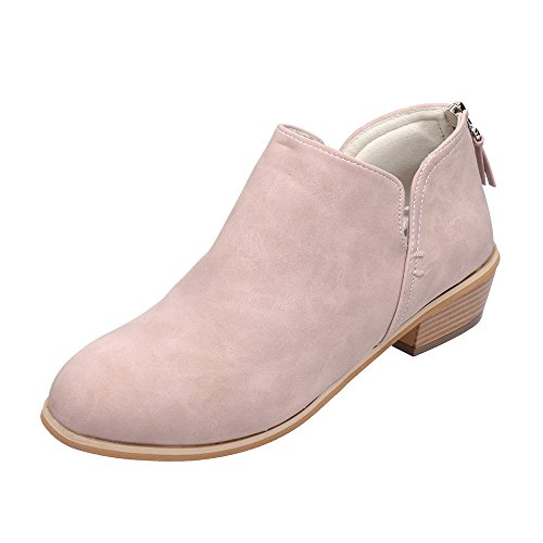 Schuhe Stiefel Ankle Blockabsatz Boot Martin Rosa Frauen Segelschuhe Damen Winterschuhe Herbst Leder Mode Kurze Schuhe ABsoar Boots Stiefel xrW0WnX6R