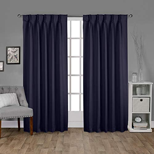 Exclusive Home Curtains Sateen Twill Woven Blackout Pinch Pleat Curtain Panel Pair