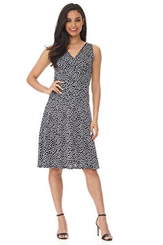 (Rekucci Women's Slimming Sleeveless Fit-and-Flare Tummy Control Dress (6,Black White Dots))