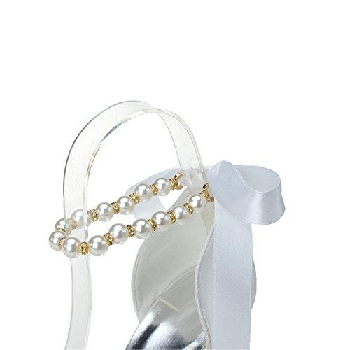 Sarahbridal Women's Peep Toe Platform Pearl Satin Wedding Bridal Shoes Pumps Stiletto High heels Court Shoes SZXF3128-22 White eSEbo