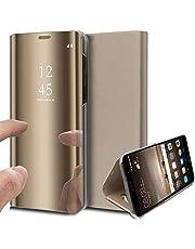 Oihxse Spiegel beschermhoes compatibel met Huawei Honor 20 / Honor 20 Pro / Nova 5T Ultra Slim Mirror Flip Transparant kijkvenster 360° beschermhoes PC + PU Cover anti-kras case (Gold)