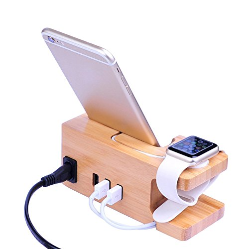 Charging Station Organizer 3-Port Wooden USB Charger Dock Holder for iPhone Apple Watch Samsung LG HTC Huawei Smartphone Tablet by YAERHUI