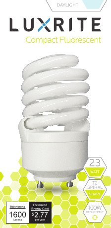 Luxrite LR22325 CF23 23-Watt CFL T2 Spiral Bulb, Equivalent To 100W Incandescent, Daylight 6500K, 1600 Lumens, GU24 Bi-Pin Base, 1-Pack (Two Lightbulb Lamp compare prices)