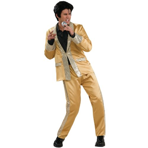 BirthdayExpress Elvis Gold Satin Suit Deluxe Adult Costume - X-Large