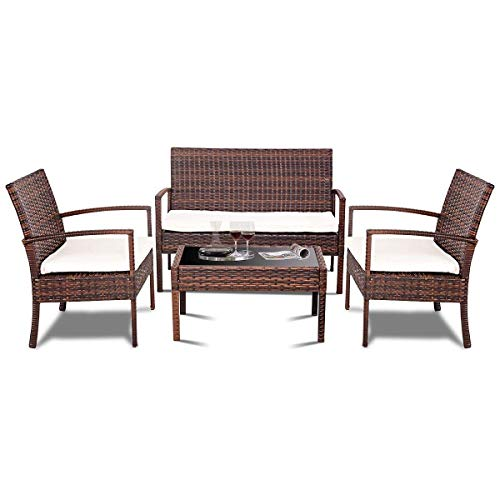 Wicker Loveseat Outdoor Patio - TANGKULA 4 Piece Patio Outdoor Conversation Set with Glass Coffee Table, Loveseat & 2 Cushioned Chairs Garden Lawn Rattan Wicker Patio Chat Set Outdoor Furniture Set (Brown)