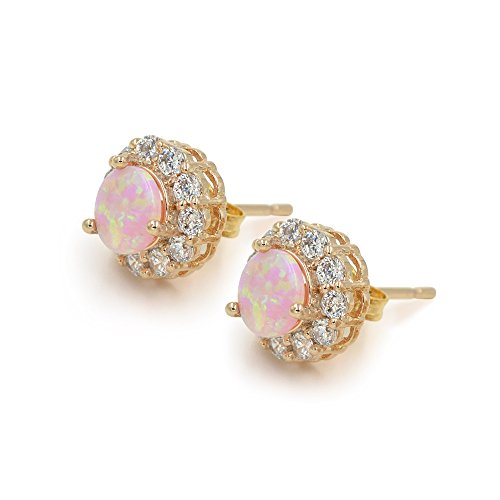 10mm-Round-Pink-Opal-Zirconia-Paved-Rose-Gold-Tone-Stud-Earrings