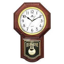 BXWDAN Pendulum Wall Clock Battery Operated - Silent Quartz Wall Clock Wooden Regulator Design, for Living Room, Kitchen & Home Décor