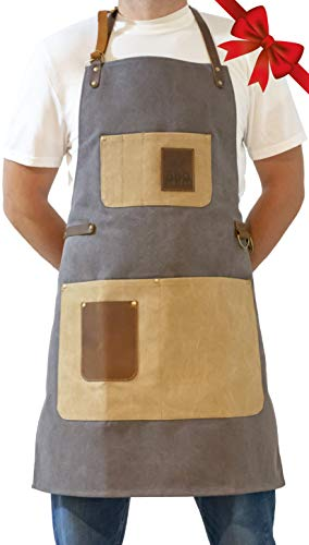 BBQ Butler Apron - Premium Adjustable Canvas Apron - Deluxe Leather Accents ()