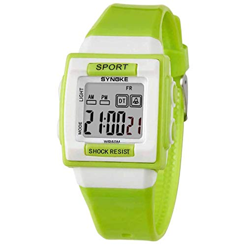 Student Sports Electronic Watch,Roumin Children's Multi-Function Night Light Alarm Waterproof Casual Watch(Green)