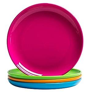 MICHLEY 4-Piece Small Dinner Plate Set Multicolor, Dishwasher Safe, BPA free Tritan Plastic Dessert Plates 41mhfE 2BqAEL