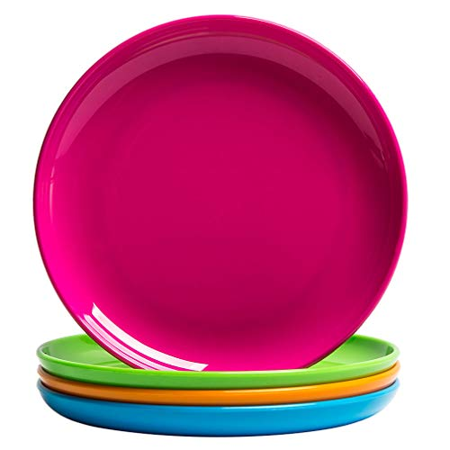 MICHLEY 4-Piece Small Dinner Plate Set Multicolor, Dishwasher Safe, BPA free Tritan Plastic Dessert Plates (Dot Melamine Plates Polka)