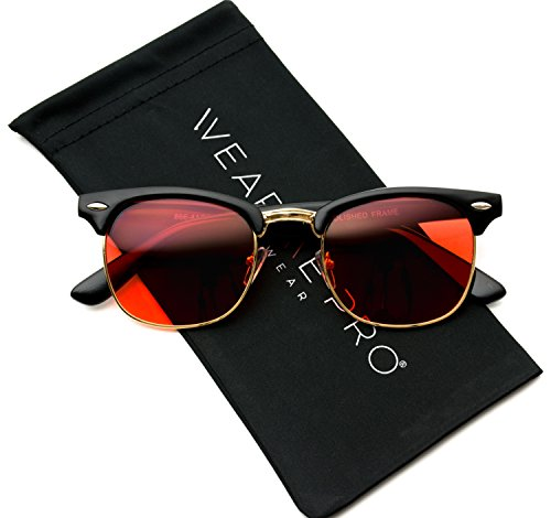 Retro Classic Metal Half Frame Horn Rimmed Sunglasses (Black Frame / Tinted Red Lens, - Glasses Browline