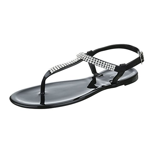 Ital-Design Zehentrenner Damenschuhe Peep-Toe Zehentrenner Schnalle Sandalen/Sandaletten Schwarz