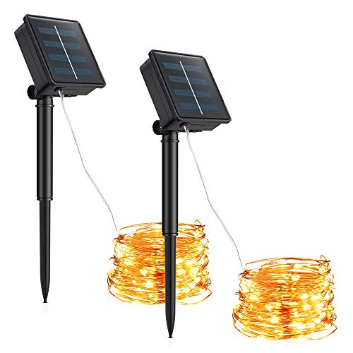 Solar String Lights, Furado 2 Pack 36ft 100 LED Solar Powered Fairy String Lights Outdoor Waterproof, 8 Modes Copper Wire Lights for Patio, Garden, Gate, Yard, Party, Wedding and Christmas(Warm White)