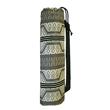 Yoga Mat Bag - 11.5 x 28 Large Strong Sturdy - Inside Pocket Shoulder Strap Drawstring - stripe southwest tribal chenille black beige brown