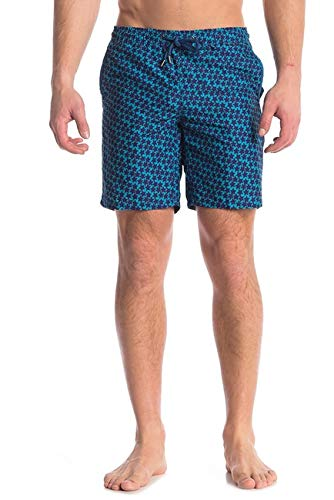Beach Bros Men's Swim Trunks - Quick Dry Bathing Suit w/Elastic Waistband & Pockets - Navy Star Bright, Small (Waist: 29