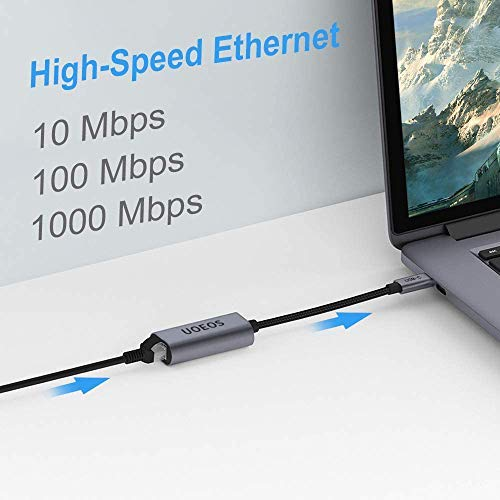 uoeos USB C to Ethernet Adapter, USB C to RJ45 LAN Gigabit Ethernet Network 10/100/1000 Mbps,Compatible with Mac Book,MacBook Air,Samsung,and More Type-c Device, Ethernet to USB C