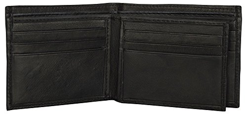 LEATHER OF INDIA Men's Leather Wallet Bi Fold - Soft Sheep Nappa With Side Flap 11.5 X 9 X 1 Cm Black by LEATHER OF INDIA (Image #3)