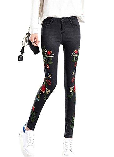 Stretti Denim Autunno Primavera Nero Ricamo Jeans Tapered Personalità Vita Floreale Capri Pantalone Con Ragazzi Pantaloni Alta Pants In Dabag Donna PHqvvz