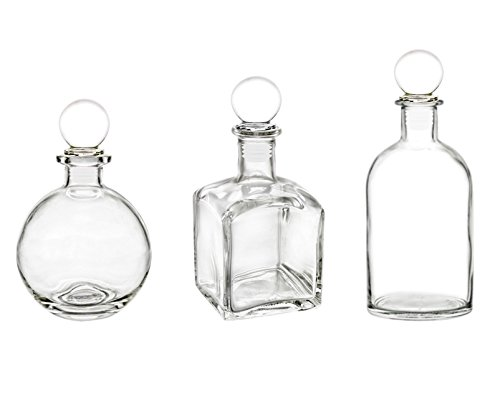 Clear Glass Bottle Set with Round Glass Stopper. Ideal for Essential Oils, Bath Oils, Perfume Oils, Diffuser Reeds, Cooking Oils, Oil Extracts, (3 Bottles, 1 of Each; Round, Square, Boston Round)