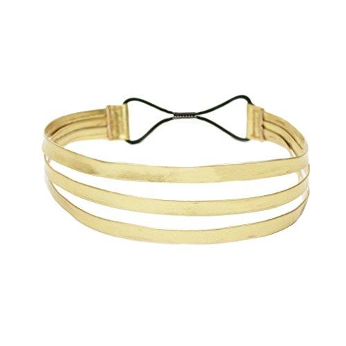 Price comparison product image Mia Fashion Headband, Gold Triple Strap