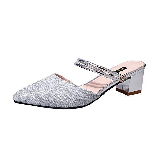 Zapatillas De Tacón Alto Femenino 2018 Nuevas Sandalias Puntiagudas Zapatillas Gruesas con Baotou Sandalias Delgadas Al Aire Libre Dos Zapatos De Desgaste Muler A